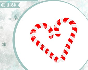 Candy Cane Heart Christmas Design LL135 B - SVG - Cut File - Ai, eps, svg (Cricut), dxf (for Silhouette users), jpg, png files