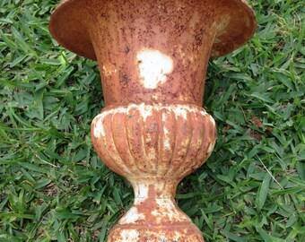 Rusty metal urn, cast iron urn, vintage metal urn, garden urn