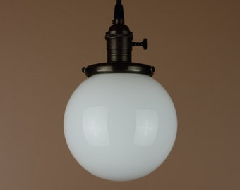 Pendant Light - 6 inch White Milk Glass Globe - Antique Reproduction Cloth Wire - Hand Finished in Oil Rubbed Bronze