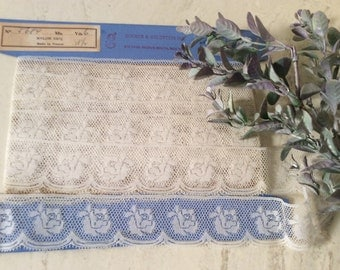 Vintage White Nylon Net French Lace Made in France, Wedding Lace, Vintage Bridal Lace