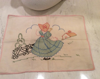 Vintage Handmade Child's Pillow Cover Pink And Blue Little Bo Peep,  Quilted Nursery Wall Hanging, Vintage Baby Quilt