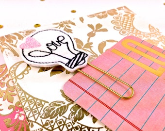 Love Light Bulb Felt Planner Paper Clip - Romantic gifts Glitter Planner accessories Bookmark. Novelty Felt Fridge Magnet Felt Brooch
