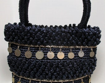 Vintage 60s Navy Crochet Raffia Large Purse with Vintage Coins
