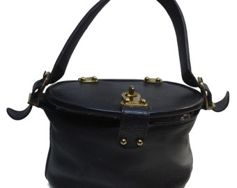ROGER VAN S Vintage 60s Black Pebbled Leather Oval Bucket Bag with Lid