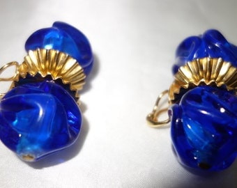 Vintage DeLillo Royal Blue Lucite and Gilt Metal Clip Earrings
