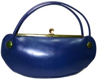 Vintage HOLZMAN Blue and Green Leather Oblong Handbag Purse MOD