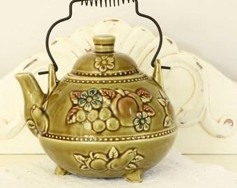 Vintage Footed Teapot - Green Ceramic Tea Pot - 1960's Fruit and Floral Design Teapot - Ceramic Serve Ware - Tea Serviceware