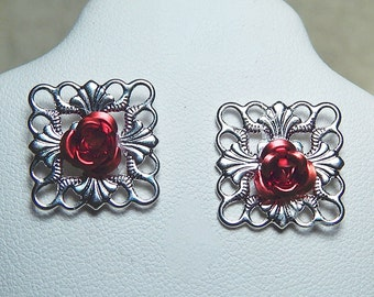 Silver Plated Filigree With Tiny Red Roses Stud Earrings