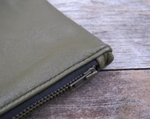 Repurposed Olive Green Leather Zippered Pouch