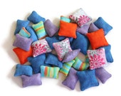CUSTOM Mini Flannel Bean Bags (set of 34) Purple Blue Striped 1.5 by 1 inch Rectangles Blue Orange Floral 1.5 inch Squares Dollhouse Pillows