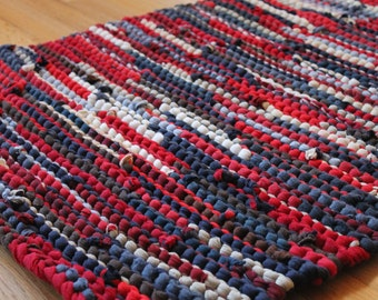 Americana Rag Rug Upcycled T Shirts Nautical Red Navy Blue Cream Brown Tan Artisan Rustic Kitchen 24x36 inches - US Shipping Included