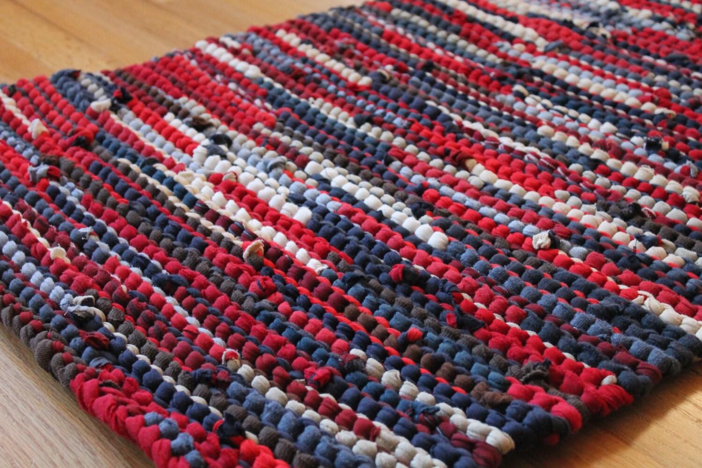 Americana Rag Rug Upcycled T Shirts Nautical Red Navy Blue
