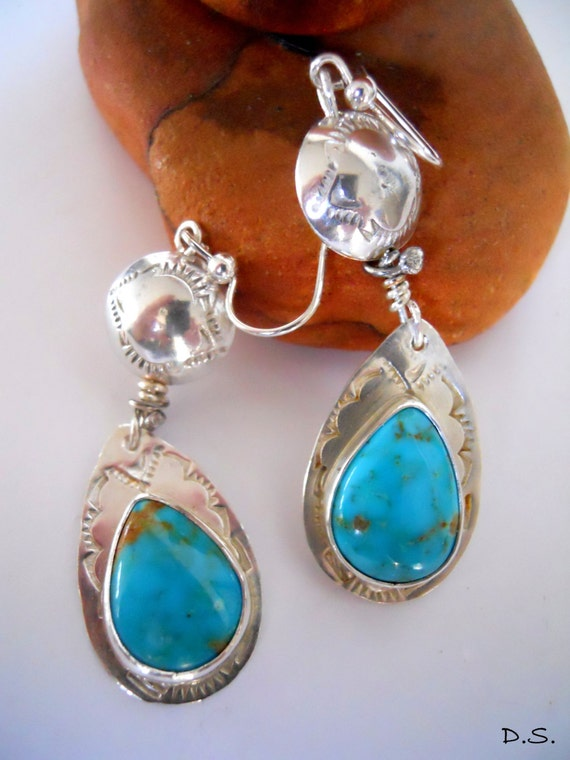 Handmade Southwestern Boho Chic Blue Kingman Arizona Turquoise Hand Stamped Sterling Silver Pear Shape Dangle Earrings