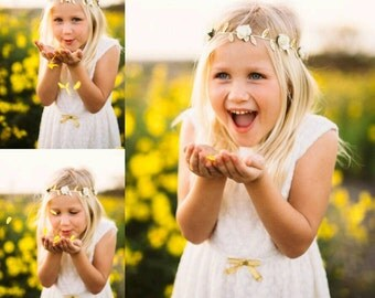 New! The { Vivian } gold leaf flower crown, Valentines headband, flower crown, baby girl headband, flower girl headband
