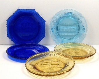 Sale Glass Cup Plates Assortment of 5 Blue Yellow Mosser Millville