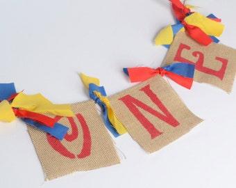 Boy Birthday banner - One birthday banner- circus birthday - Carnival Party - ONE Birthday - Lego birthday decorations - Boy Birthday decor