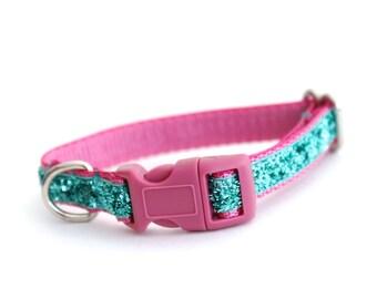 Sparkle Puppy Dog Collar, Small Dog Collar in Pink, Teal Dog Collar