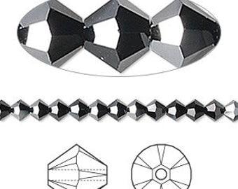 Swarovski crystal,  Jet Black, 6mm Xilion bicone 100 beads