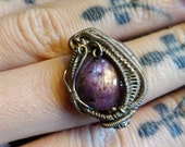Purple star ruby and silver wire wrap ring, July birthstone!