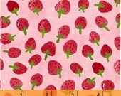 Flower Pedals - Strawberries Pink Organic Cotton by Carolyn Gavin of Ecojot from Windham Fabrics
