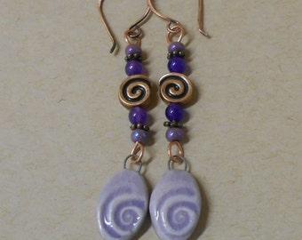 Lavender Clay Spiral Dangle Earrings, Copper Spirals, Glass and Amethyst Beads
