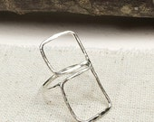 Statement Ring, Silver Ring, Hand Forged Ring, Boho Ring, Gypsy Ring, Ladies Ring, Double Ring, Square Ring, Geometric Ring