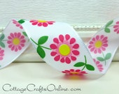 "Wired Ribbon, 1 1/2"",  Pink Daisy, Yellow Center Floral Print Taffeta  - THREE YARDS - Offray ""Flirt"" Spring, Flower Craft Wire Edged Ribbon"