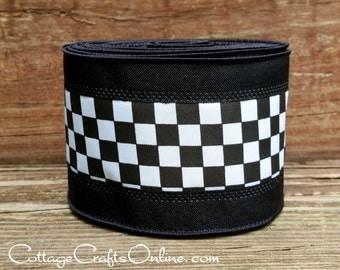 "Wired Ribbon, 2 1/2"", Black, and White Check Plaid, Black Edge - TEN YARD ROLL - ""Raceway Stripe"" Race Finish Flag, Wire Edged Ribbon"
