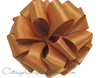 """CLEARANCE! Satin Ribbon Double Sided, 5/8"""" wide, Old Gold, 100 YARD ROLL, Offray Narrow Double Face Satin No. 3, """"Old Gold 690"""" Sewing Trim"""