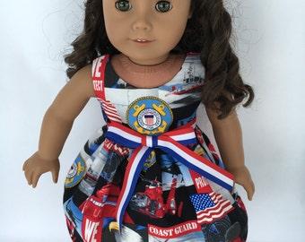 """18 inch doll dress, US Coast Guard doll dress, US Coast Guard, US Military doll dress, made to fit 18"""" dolls such as American Girl dolls"""