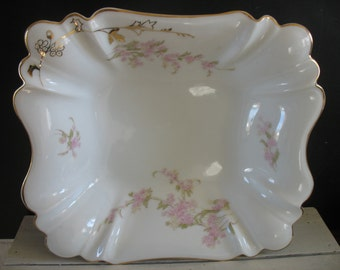 Vintage Bavarian Serving Bowl - Germany - Pink Floral and Gold