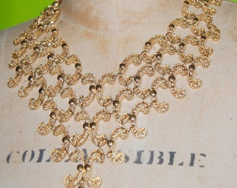 70s Monet Bib Necklace Goldtone Vintage Statement Necklace