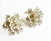 Coro Earrings Queen Anne's Lace Enameled With Rhinestones Clip On 1950s
