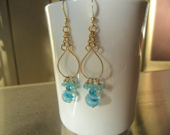 Gold Filled Dangle Earrings - Blue Beads and Crystals - Hand Crafted - by ChicArtistique