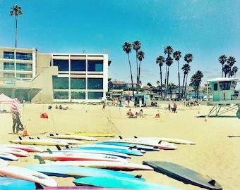 photography, santa cruz photography, beach photography, surf art, palm trees, surfboard print - Cowell Beach, photography print