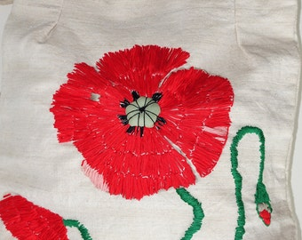 Poppy Red Purse, Linen Tote bag, Poppy flower, Natural cotton Handbag hand sewn red poppies, Gypsy Handbag handcrafted, eco friendly, boho