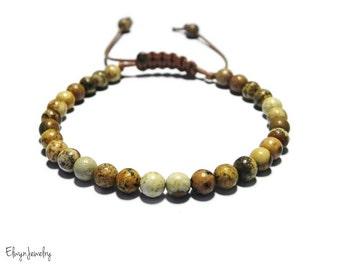 Brown Beaded Bracelet, Gemstone Bracelet, Brown Bracelet, Mens Bracelet, Mens Jewelry, Mens Beaded Bracelet, Mens Gift, Picture Jasper Stone