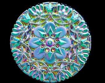 Luminous Pink Green Flowers Floral LARGE Czech Glass Button 37mm 3D Art Nouveau