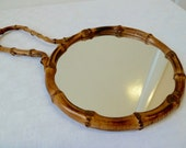 Rare Vintage Bamboo Framed Hand Mirror, Tropical, Tiki Style Mirror, Round Hand Mirror, Hanging Mirror