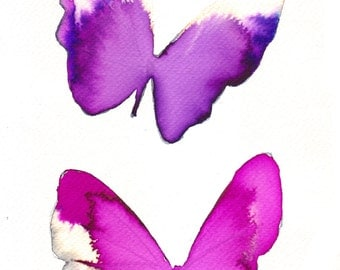 bright pink and purple violet butterflies original watercolour and ink painting