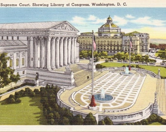 U.S. Supreme Court, Library of Congress, Washington D.C. - Linen Postcard - Unused (KK)