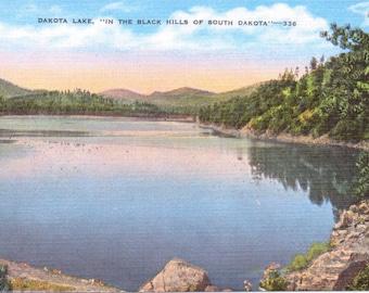 Dakota Lake, Black Hills, South Dakota - Linen Postcard - Unused (A6)