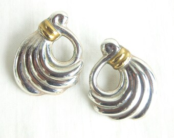 Mixed Metal Earrings Large Mexican Sterling Silver and Brass Modern Swirl Posts Vintage Taxco Mexico Jewelry