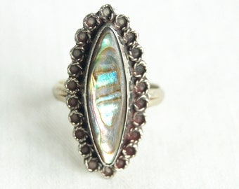 Mexican Abalone Ring Size 7 .75 Vintage Marquise Lace Ocean Mirror Hecho en Mexico Victorian Style