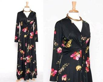 ON SALE Vintage 70s Black Floral Maxi Dress/ Long Dress