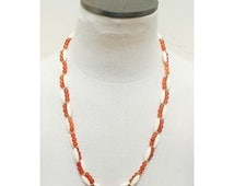 Vintage 1960s Amber & Cream Beaded Necklace