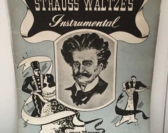 Vintage 1939 Strauss Waltzes Sheet Music