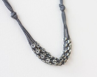 Silver grey layered necklace Multi strand Crochet beaded jewelry Gift for her Boho chic Bohemian style