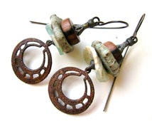 An Old One's Wish & a Young One's Dream - primitive stacked powder blue Roman glass, rusty filigree hoop, ceramic disc, black metal earrings