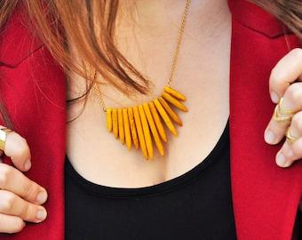Orange Cordierite Necklace, Boho Gemstone Necklace, Orange Point Necklace, Spike Necklace, Bohemian Necklace
